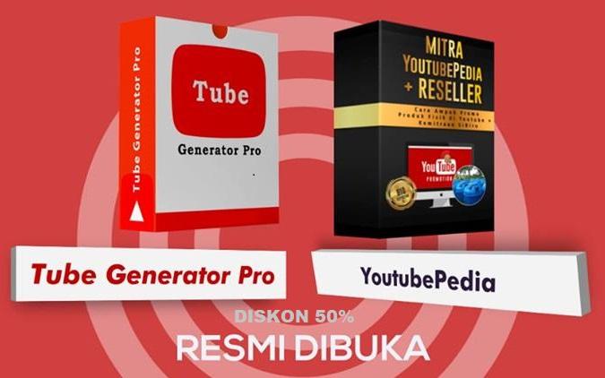 TubeGeneratorPro+Youtubepedia Diskon 50% kupon DIRATAKAN